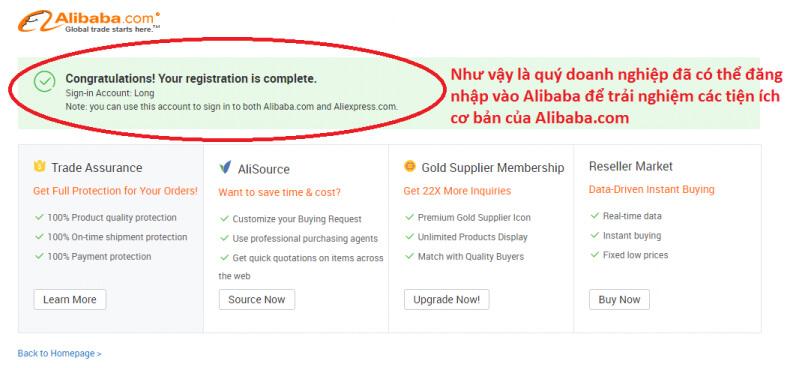 hoàn tất đăng ký tài khoản alibaba