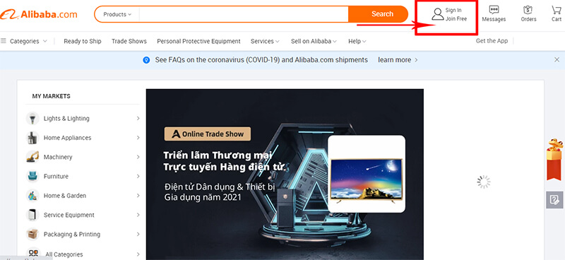 tạo tài khoản alibaba.com