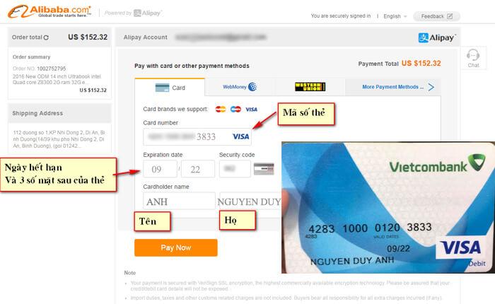 điền thông tin visa